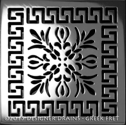 Architecture Greek Fret™ Shower Drain | Replacement For Wedi, square stainless steel shower drain with Greek key