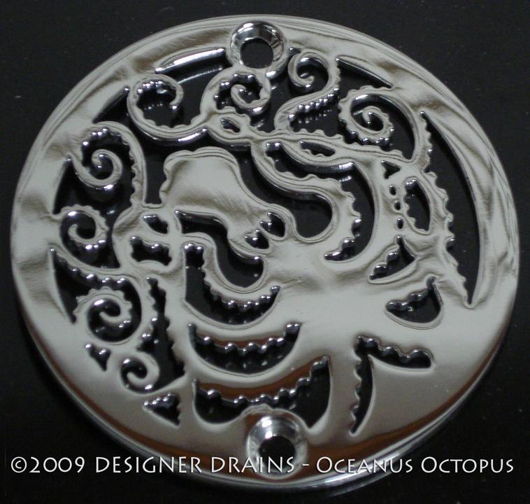 3 25 Round Shower Drain Cover Oceanus Octopus