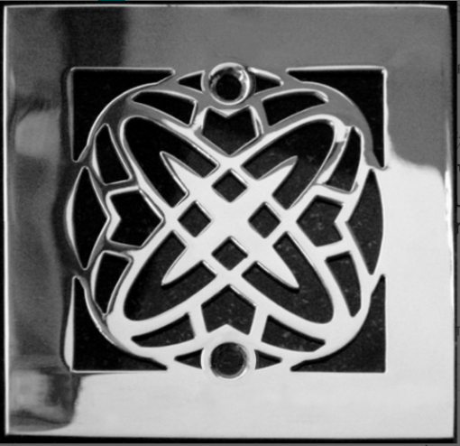 Geometric No. 5™ Shower Drain   4.25″ Square Shower Drain