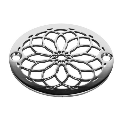 3.25 inch-mandala-shower -drain-polished-stainless