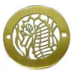 4 Inch Round Shower Drain, Seahorse, Brushed Brass