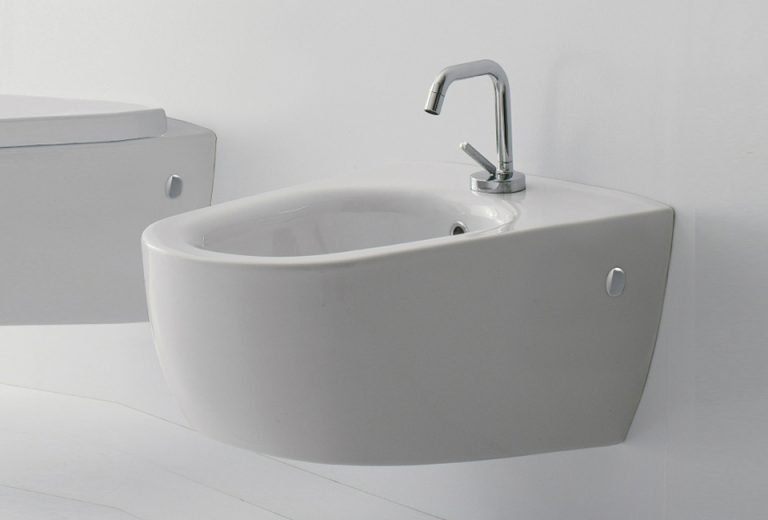 Wall Mounted Bidet - White With Chrome Accent