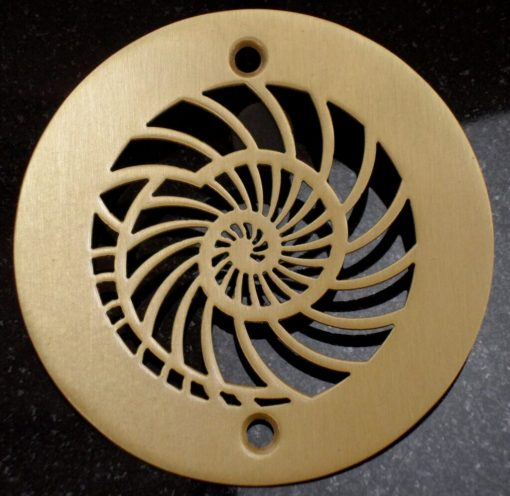 4 inch brushed bronze nautilus shower drain