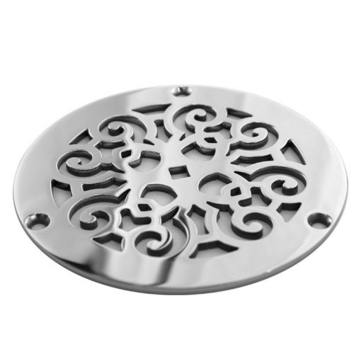 Round Shower Drain, Zurn Replacement Cover, Classic Scrolls 6