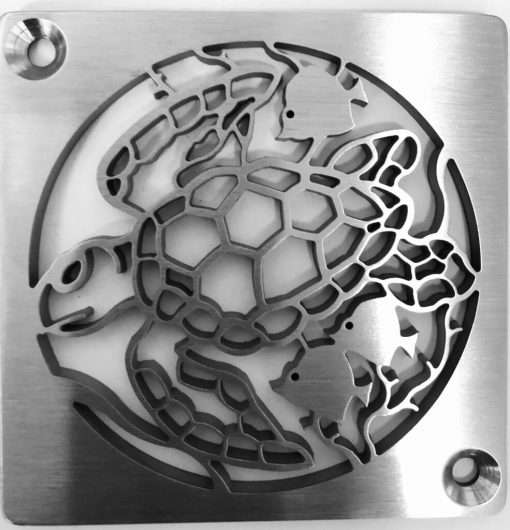 Sea Turtle Caretta, Replacement For Kerdi-Schluter,brushed stainless shower drain