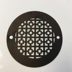 """4"""" Round Shower Drain, Geometrick No. 1, Oil Rubbed Bronze"""