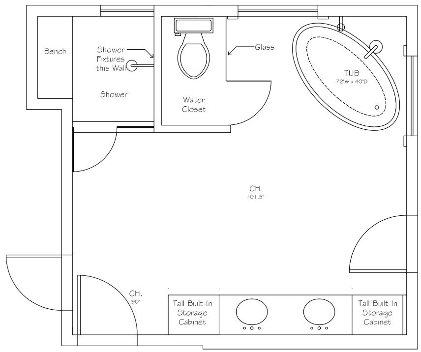 Hudson River Spa Bath Floor Plan After | Designer Drains