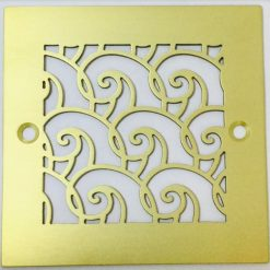 4 Inch Square Shower Drain, Waves, Brushed Brass