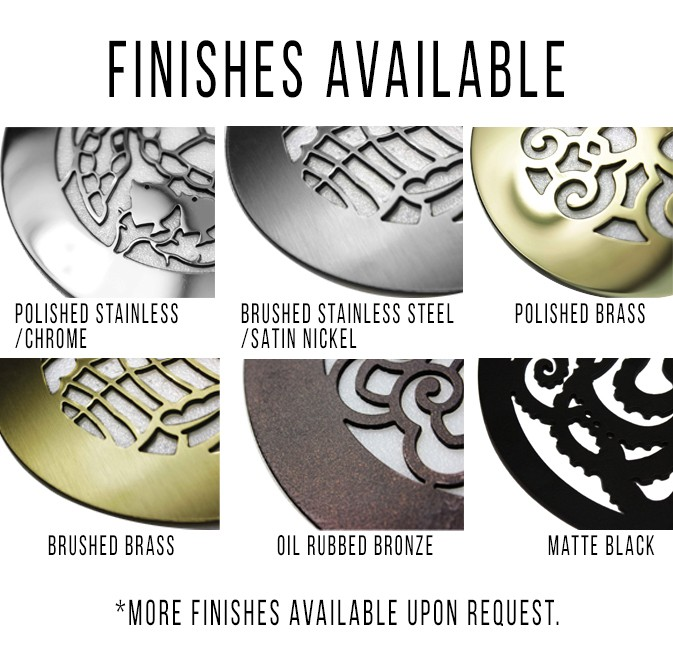Showcases the types of finishes offered