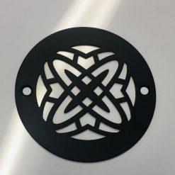 4 Inch Round Shower Drain Cover, Geometric Atom Rings, Matte Black