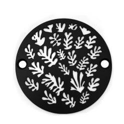 3.25-Inch-Round-Shower-Drain-Spray-of-Leaves-Matte-Black